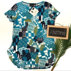 Antthony Top S NWT Turquoise Black Patterned New